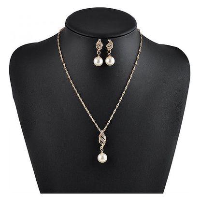 Elegantní sada s decentní perlou a kamínky - náhrdelník + náušnice