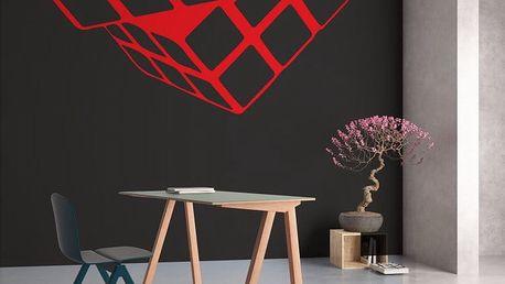 GLIX Rubikova kostka - samolepka na zeď Světle červená 45 x 40 cm