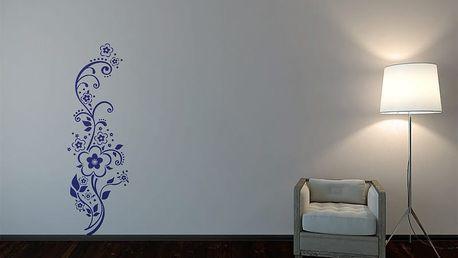 GLIX Květinová dekorace - samolepka na zeď Modrá 30 x 100 cm
