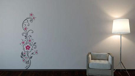 GLIX Květinová dekorace - samolepka na zeď Šedá a růžová 30 x 100 cm