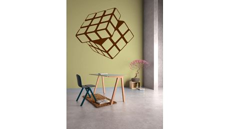 GLIX Rubikova kostka - samolepka na zeď Hnědá 80 x 70 cm