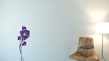 GLIX Květinová dekorace - samolepka na zeď Fialová 30 x 80 cm