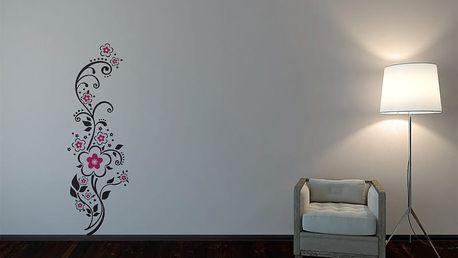 GLIX Květinová dekorace - samolepka na zeď Černá a růžová 30 x 100 cm
