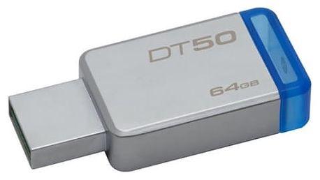 USB Flash Kingston 64GB (DT50/64GB) modrý/kovový