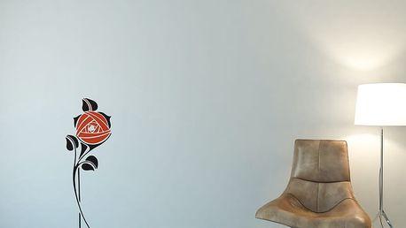 GLIX Květinová dekorace - samolepka na zeď Černá a oranžová 30 x 80 cm