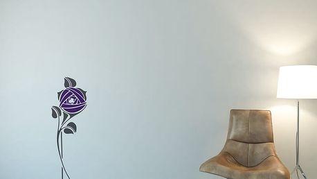 GLIX Květinová dekorace - samolepka na zeď Šedá a fialová 30 x 80 cm