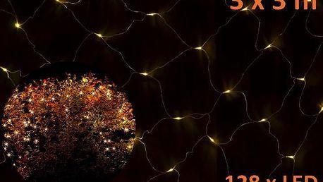 Vánoční LED světelná síť 3 x 3 m - teplá bílá, 128 diod