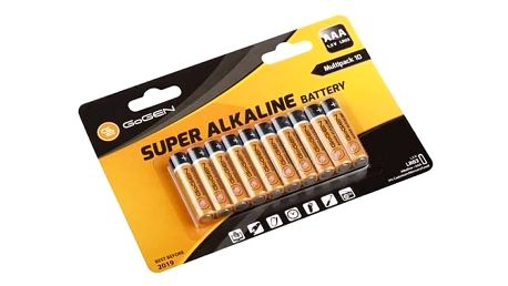 Baterie alkalická GoGEN SUPER ALKALINE AAA, LR03, blistr 10 ks (GOGR03ALKALINE10) černá/oranžová