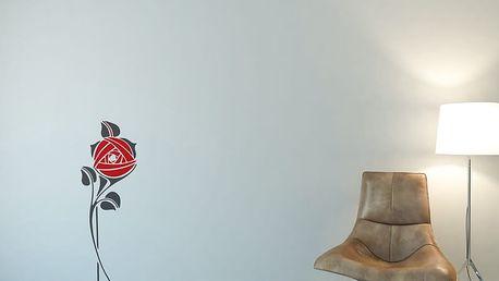 GLIX Květinová dekorace - samolepka na zeď Šedá a červená 30 x 80 cm