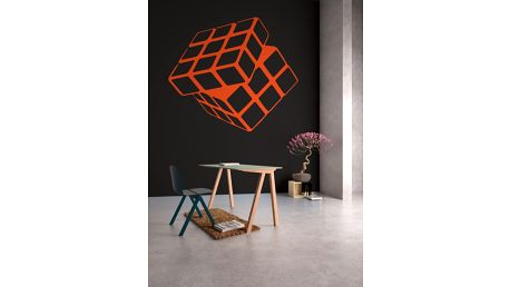 GLIX Rubikova kostka - samolepka na zeď Oranžová 30 x 28 cm