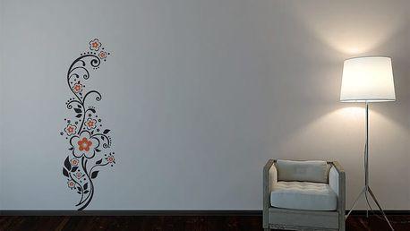 GLIX Květinová dekorace - samolepka na zeď Černá a oranžová 30 x 100 cm