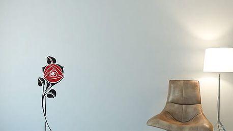 GLIX Květinová dekorace - samolepka na zeď Černá a červená 30 x 80 cm
