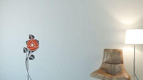 GLIX Květinová dekorace - samolepka na zeď Šedá a oranžová 30 x 80 cm