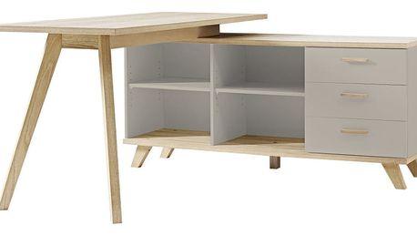 Pracovní stůl s šedým odkládacím stolkem Germania Oslo - doprava zdarma!