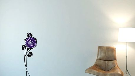 GLIX Květinová dekorace - samolepka na zeď Černá a Fialová 30 x 80 cm