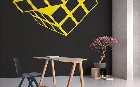 GLIX Rubikova kostka - samolepka na zeď Žlutá 110 x 100 cm