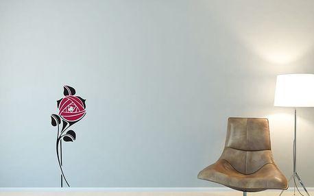 GLIX Květinová dekorace - samolepka na zeď Černá a růžová 30 x 80 cm