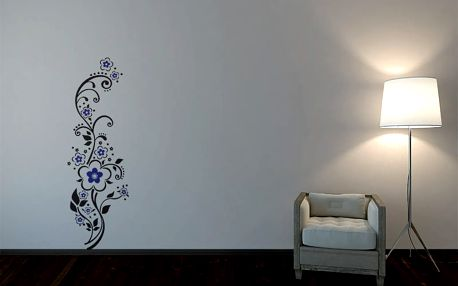 GLIX Květinová dekorace - samolepka na zeď Černá a modrá 30 x 100 cm