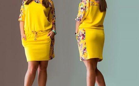 Květinové letní šatičky - žlutá, velikost č.5