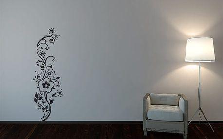 GLIX Květinová dekorace - samolepka na zeď Černá 30 x 100 cm