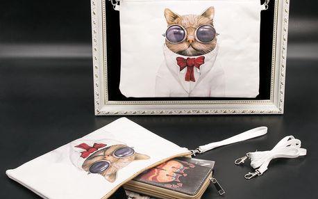 Fashion Icon Psaníčko Etno kočka v brýlích s kravatou pouzdro na tablet