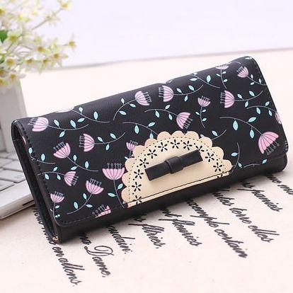 Dámská peněženka s motivy květin - černá - dodání do 2 dnů