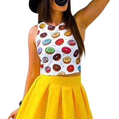 Dvoudílné šaty s barevnou sukní a vrchní částí s motivy koblih a zmrzliny - 3 varianty