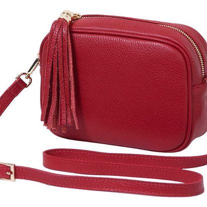 Červená kabelka z pravé kůže Andrea Cardone Pezzo - doprava zdarma!