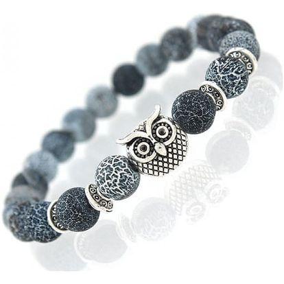Náramek z kamínků se symbolem moudrosti v podobě sovy - dodání do 2 dnů