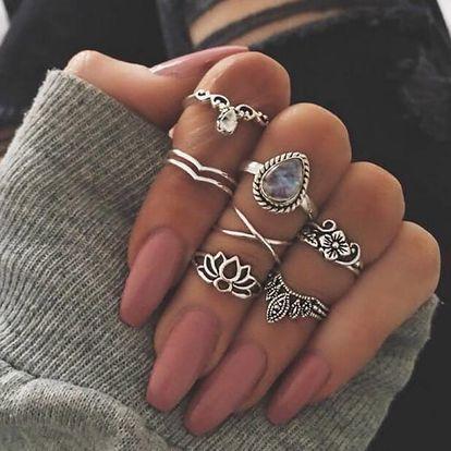 Sada bohémských prstýnků ve stříbrné barvě - 7 ks