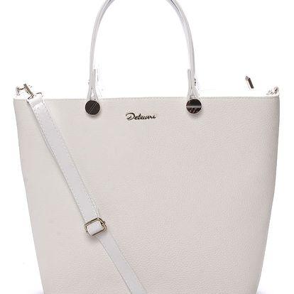 Luxusní dámská kabelka bílá struktura - Delami Chantal bílá