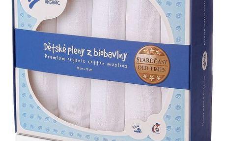 KIKKO Dětské pleny z biobavlny Staré časy 70x70 (5 ks) – bílé