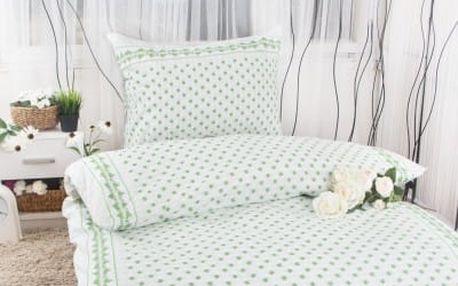 XPOSE ® Bavlněné povlečení na dvě lůžka EMA - zelená 140x200, 70x90