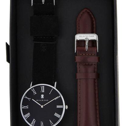 Set pánských hodinek s řemínky Black Oak Elegant Dark - doprava zdarma!