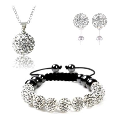 Sada šperků - náušnice, náramek, řetízek s přívěskem