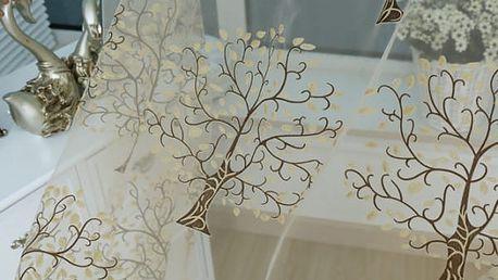 Záclonka s motivem rozkvetlých stromů - 2 barvy