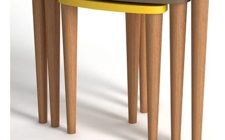 Sada 3 konferenčních stolků v krémové, žluté a hnědé barvě Monte Piga