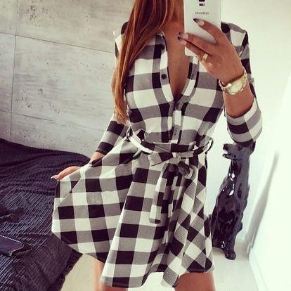 Elegantní kostkované šaty pro dámy - 3 barvy