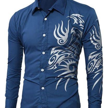 Moderní pánská košile zdobená ornamenty na boku - 9 barev