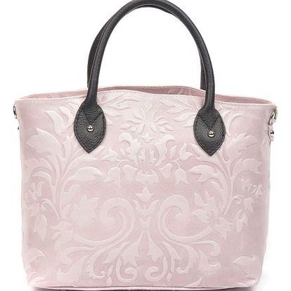 Pudrově růžová kožená kabelka Renata Corsi Cosima - doprava zdarma!