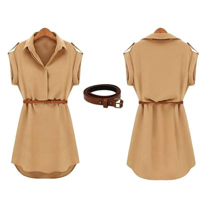 Letní košilové šaty - béžová, velikost 3 - dodání do 2 dnů