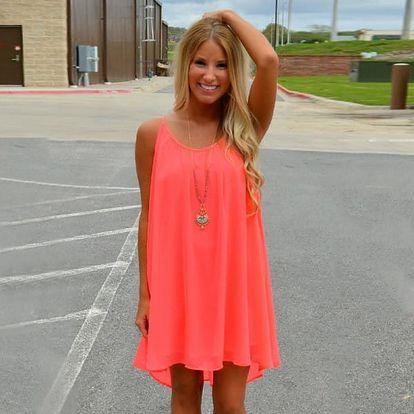 Dámské šaty plážové v pestrých barvách - oranžová, vel. 3 - dodání do 2 dnů