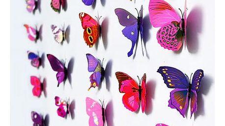 Velká skupina motýlů k dekorování zdí a předmětů