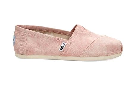Toms lososové espadrilky Classic Coral Washed Twill - 38