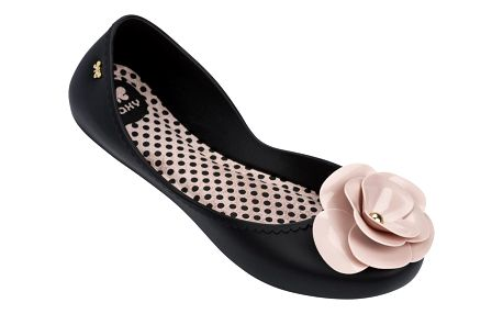 Zaxy černé balerínky s pudrovou kytkou Start IV Fem Black/Pink - 38