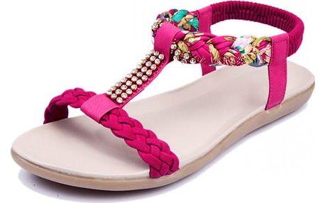 Dámské sandálky se zaplétanými pásky a kamínky - 4 barvy