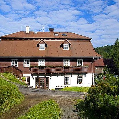 Pobyt v Krkonoších pro 2 s polopenzí, neomezeným vstupem do vyhřívaného bazénu, saunou a džbán vína.