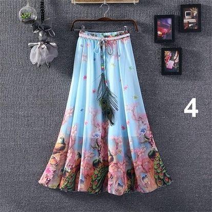 Lehoučká dlouhá sukně na jaro i léto - varianta 4