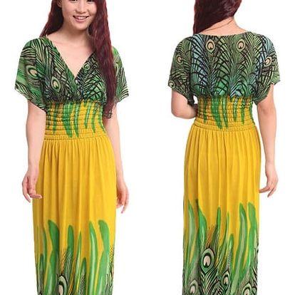 Dámské dlouhé šaty s pavími motivy - žlutá, velikost 7