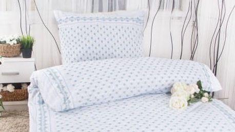 XPOSE ® Bavlněné povlečení na dvě lůžka EMA - modrá 140x200, 70x90